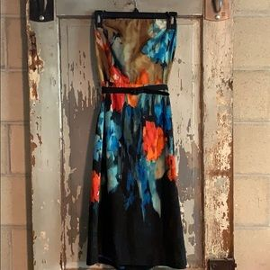 Watercolor strapless dress